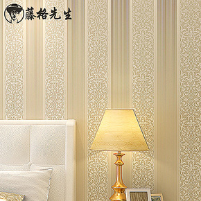 T藤格先生 简约欧式 无纺布壁纸 竖条纹 客厅卧室电视背景墙纸 AD