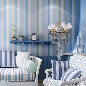 米冠蓝色竖条纹无纺布墙纸 地中海风格 卧室客厅沙发背景壁纸植绒