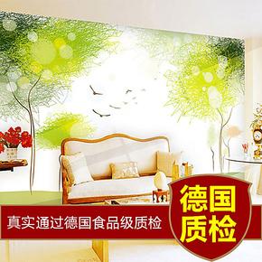 西诺电视背景墙纸壁纸 温馨卧室墙纸 大型壁画田园绿色旋律