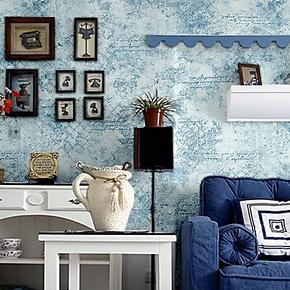 歌诗雅墙纸 卧室客厅书房 复古蓝色情调字母壁纸10地中海风格