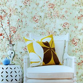 慕勒美式乡村墙纸卧室客厅沙发背景环保纯纸壁纸古典田园花朵特价