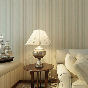 将旗壁纸 纯纸条纹植绒绿色美式田园风格 卧室背景客厅墙纸F86010