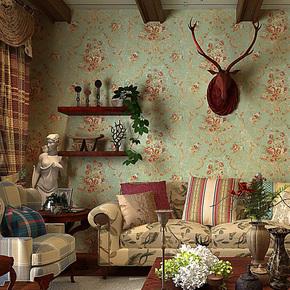 歌诗雅墙纸 家装客厅卧室 美式乡村田园复古怀旧大花壁纸 09