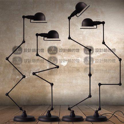【设计师的灯】简约吧台粗矿工业风 大号黑金机械手臂五节落地灯