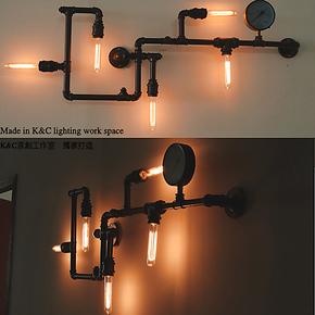 买家秀 LOFT工业水管壁灯 客厅服装店咖啡馆酒吧个性创意灯具工程