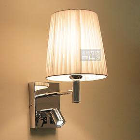 瑞铃现代简约卧室床头LED壁灯中式布艺单头床头灯特价可摇小夜灯