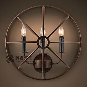 美式乡村铁艺艺术壁灯北欧创意个性酒店卧室餐厅过道书房壁灯8945