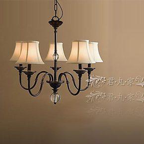 【设计师的灯】美式乡村田园风 仿古锻造 铁艺布罩五灯 吊灯