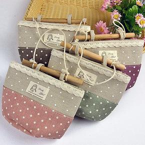 小艾家居 韩式 点点棉麻挂袋 衣柜布艺挂式收纳袋 墙上挂袋储物袋