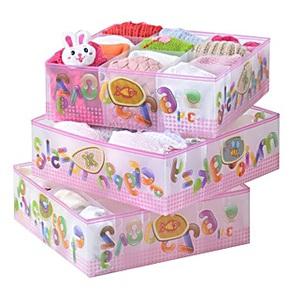 圣强内衣收纳盒有盖 塑料文胸整理盒内裤袜子收纳箱三件套包邮