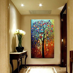 纯手绘油画 发财树 电箱装饰画走廊无框画玄关画竖版挂画墙壁画