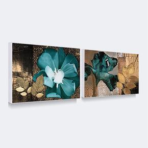 天画现代装饰画简框画客厅玄关餐厅酒店背景墙二联挂画蓝色花卉
