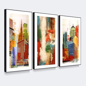 天画简约有框画装饰画简框壁画墙画挂画黑框三联时尚风景现代城市