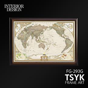 英文世界地图装饰画客厅装饰画书房有框画玄关挂画餐厅装饰画油画
