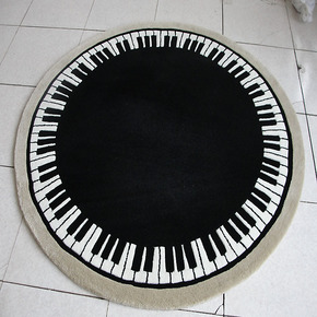 琪斯美 钢琴图案电脑椅可爱圆形地毯 手工腈纶客厅茶几卧室地毯