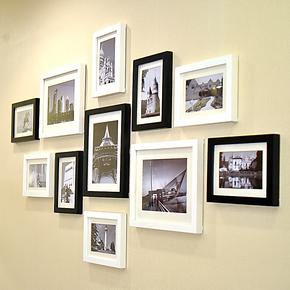 森淼 实木照片墙 11框经典相片墙 创意相框组合 相框墙 SM-8611