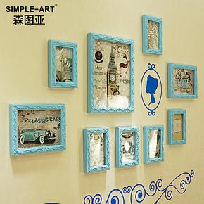 森图亚 欧式雕花 实木 照片墙 相片墙 相框 创意组合 送墙贴 包邮