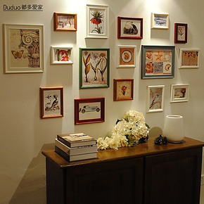 都多爱家 实木照片墙 创意相框墙组合 相片墙 欧式组合相框墙