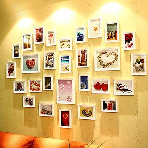 维佳实木大墙面心形照片墙28框欧式相框墙相片墙创意时尚相框组合