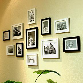 照片墙11框实木相框墙相框组合相框创意 送照片 蓝丁胶墙包邮特价