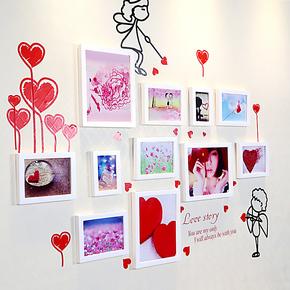 婚房温馨照片墙 结婚创意组合相框墙11框相片墙 送墙 Q11-05