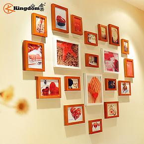 金鼎 心形实木照片墙 20框心型欧式相片墙 创意相框墙贴组合包邮