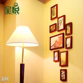 全悦 实木照片墙 9框经典竖款相片墙 玄关走廊组合相框墙9SM531
