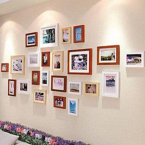 添色彩绘 照片墙 实木相框墙 相片墙 组合创意 客厅大墙面照片墙