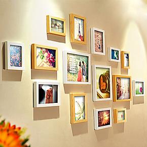 柠檬树 15框实木相片墙 组合创意欧式照片墙 家居相框墙 包邮