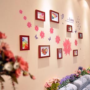 恋居 实木相片墙 创意组合 松木相框墙 韩式照片墙 送墙贴  8框q