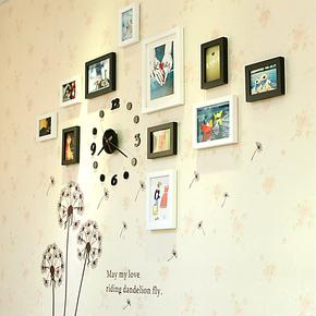 小猪猪11框实木照片墙钟表 相框墙 组合创意照片墙 送蒲公英