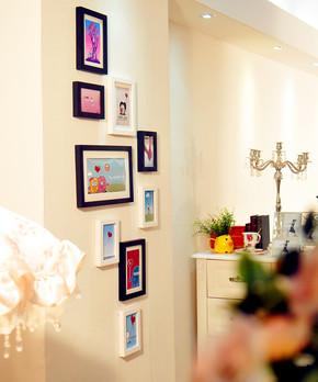 添色彩绘 实木 楼梯过道照片墙相框组合 相片墙 照片背景墙 9框