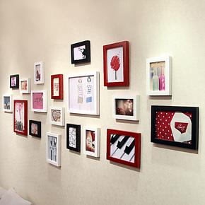 添色彩绘 照片墙 实木相框墙 相片墙组合 韩式现代简约照片墙