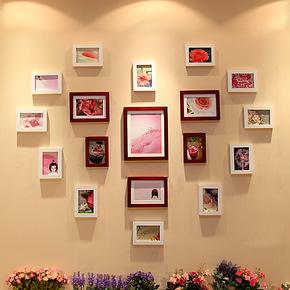 恋居 实木照片墙 相框墙 创意心形照片墙组合 客厅相片墙 18B框