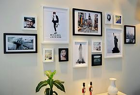 创意13框客厅实木相框组合 欧美式相片墙 大墙面生活照片墙包邮