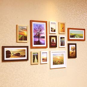 小猪猪 12相框组合创意 实木照片墙 洗照片 背景墙 相片墙