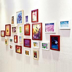 24框松木实木照片墙相片墙相框墙组合 客厅餐厅画框墙框 送画心