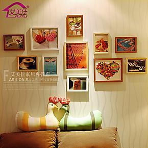 艾美佳 创意相框墙 实木相片墙组合 照片墙相框 结婚礼物 11F