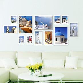 维佳 12框实木创意组合照片墙相框墙相片墙大尺寸背景墙多色系
