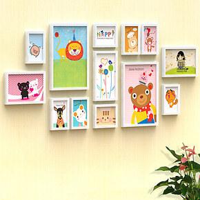 天字一号 13框欧式实木客厅照片墙相框墙相片墙 相框 组合 照片墙