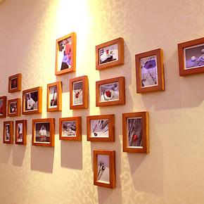 18框实木照片墙 相片墙 韩式创意组合墙相框墙   免费冲照片 包邮