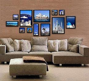 祺艺相框实木照片墙客厅沙发欧式画框照片背景墙组合相片墙