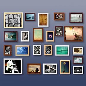 可以冲洗照片23框韩式个性实木纯欧式照片墙相框墙相框组合相片墙