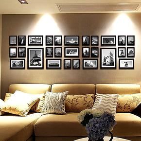 百易尚品 实木28框大尺寸照片墙 客厅走廊相片墙 超大组合相框