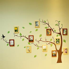 小猪猪11框实木照片墙 相框墙相框记忆树 卧室书房走廊照片墙贴纸