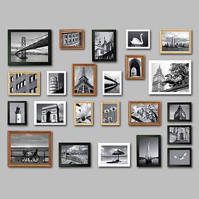 浮图品牌 23框实木纯欧式照片墙相框墙相框组合相片墙