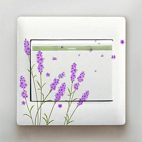 蓝瑞彩色家饰开关贴纸 花之语5件套 防水透明塑料开关贴创意装饰