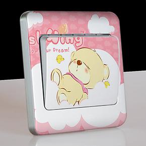 爱熙 新款卡通儿童房幼儿园专用亚光磨砂透明彩色开关贴 小熊系列