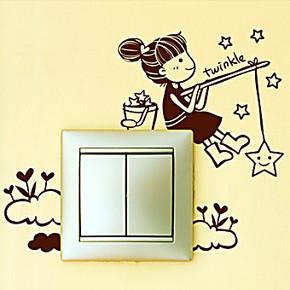 女孩摘星 个性一百开关贴创意家居饰品时尚墙贴搞笑卡通家饰贴纸