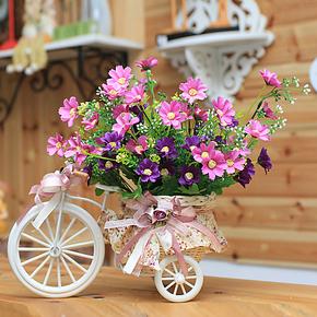 小花车仿真花套装 欧式小三轮车 客厅装饰摆件 餐桌花艺 假花绢花